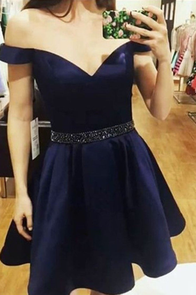 2019 Satin With Pockets Homecoming Dresses A-Line Off-The-Shoulder