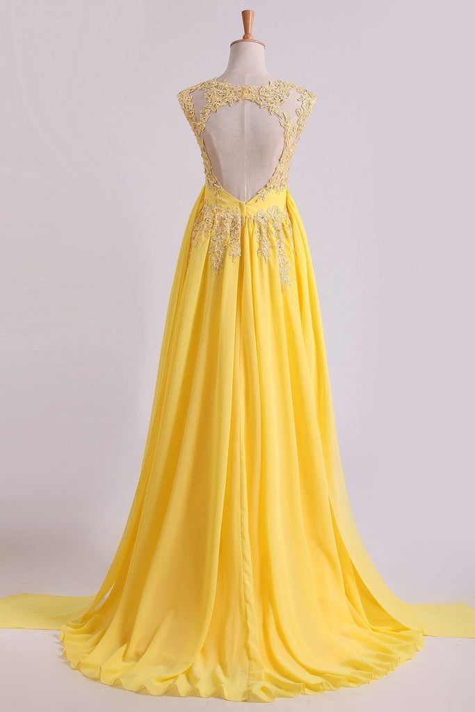 Enchanted Bateau A-Line Court Train Prom Dresses With Applique & Bow-Knot Daffodil