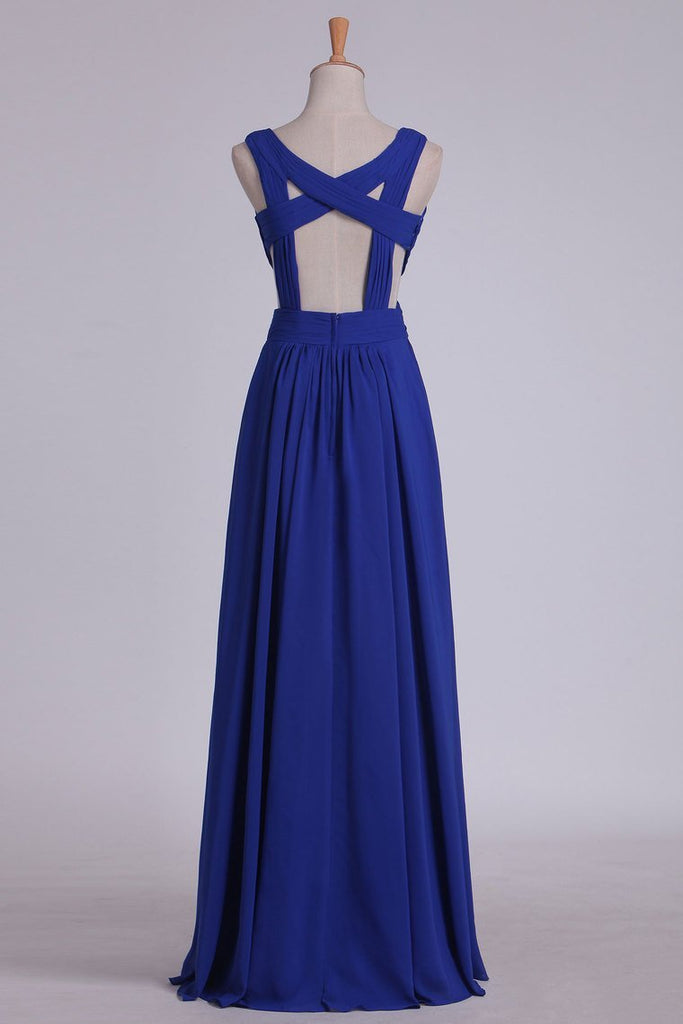 Straps Prom Dresses A Line With Ruffles Chiffon Open Back