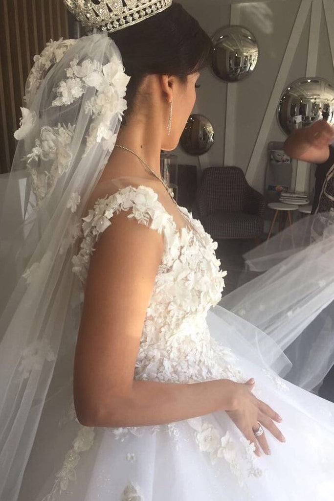 2021 Scoop A Line Organza Wedding Dresses With Applique And Handmade Flower