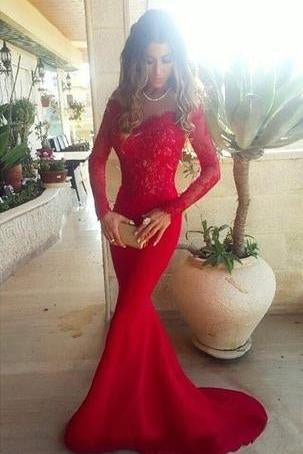 Long Trumpet/Mermaid Off-the-Shoulder Satin Red Prom Dresses JS610
