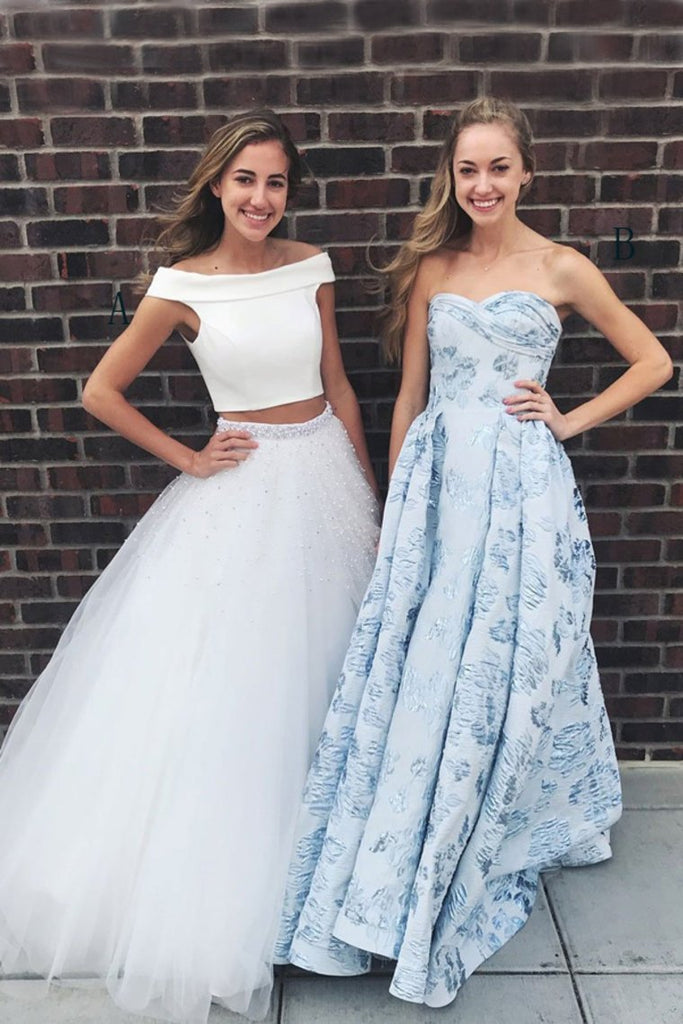 Classy Boat Neckline 2 Pieces Beautiful Ivory Beading Prom Dresses