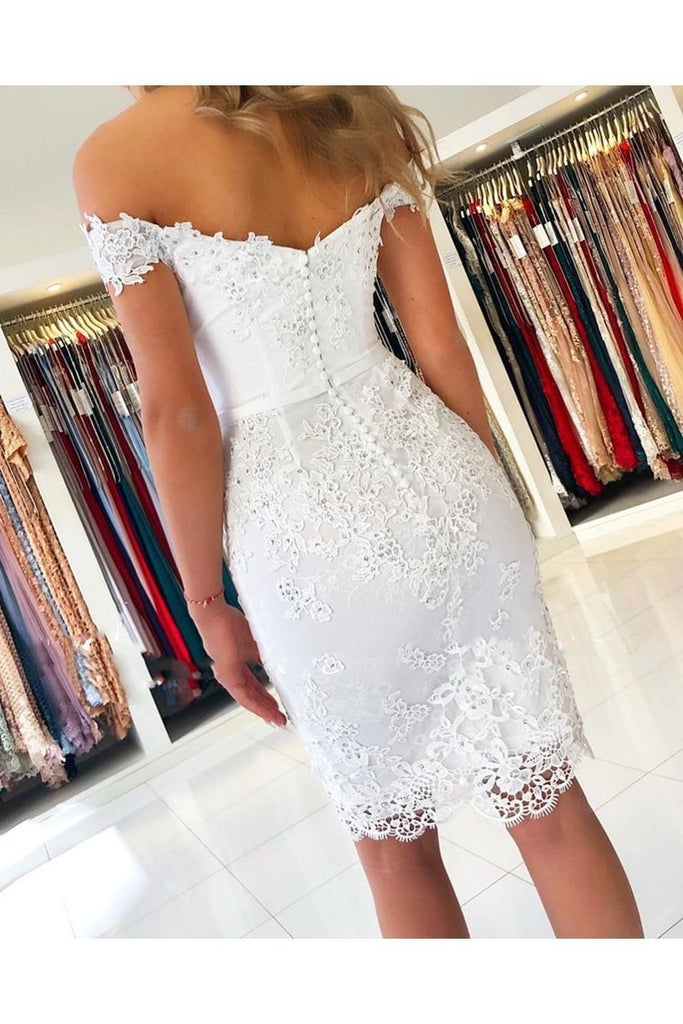 Off Shoulder Short Lace Graduation Formal Homecoming Dresses Sheath