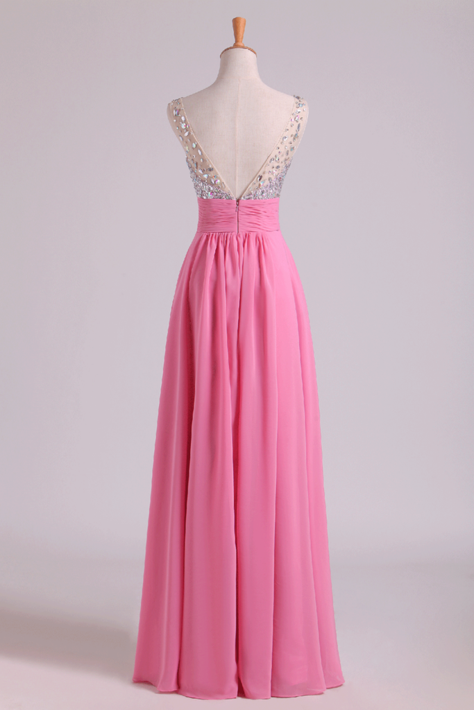 Prom Dresses A Line V Neck Chiffon With Beading/Sequins Sleeveless Floor Length