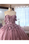 Ball Gown Off The Shoulder Tulle Quinceanera Dress With Lace Appliques Puffy Prom SSMP3HM7KB3