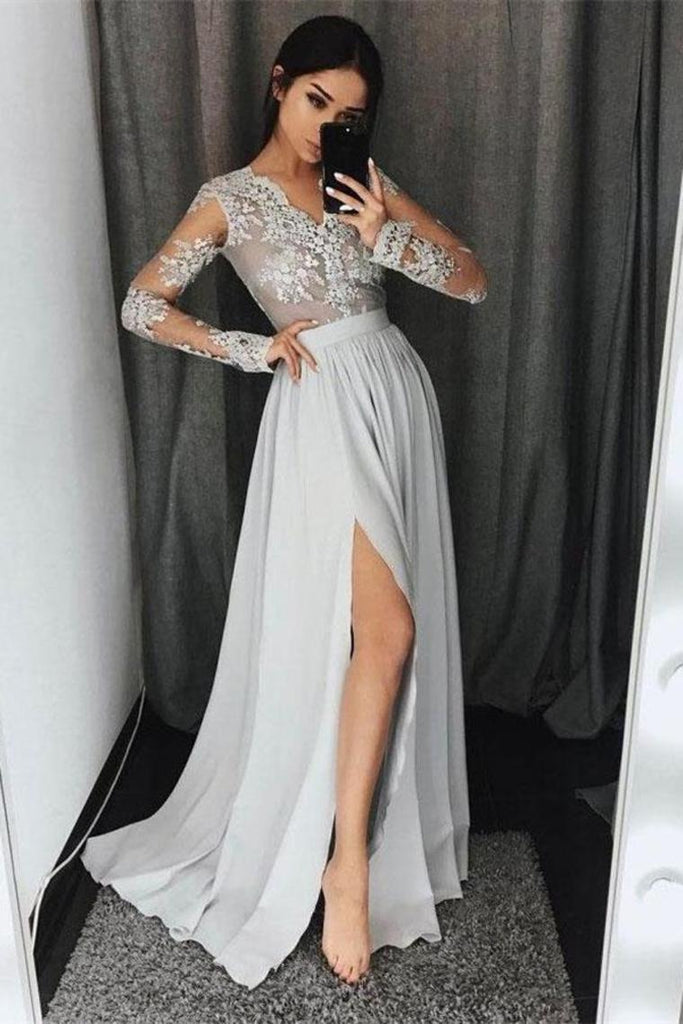 Beautiful Silver Chiffon Lace V-Neck Simple Cheap Elegant Prom Dresses With Sleeves