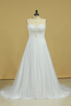 2019 Plus Size Sweetheart Beaded Bust Empire Waist A Line Wedding Dress Chapel Train Tulle With Lace
