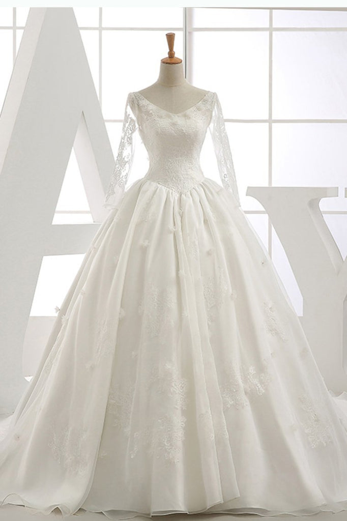 Long Sleeves Wedding Dresses V Neck With Applique Organza Cathedral Train