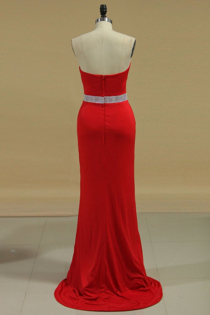 2019 Sheath Prom Dresses Sweetheart Beaded Waistline Spandex Sweep Train