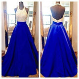 Charming Long Sexy Backless Halter Backless Sleeveless Beads with Pockets Prom Dresses JS60