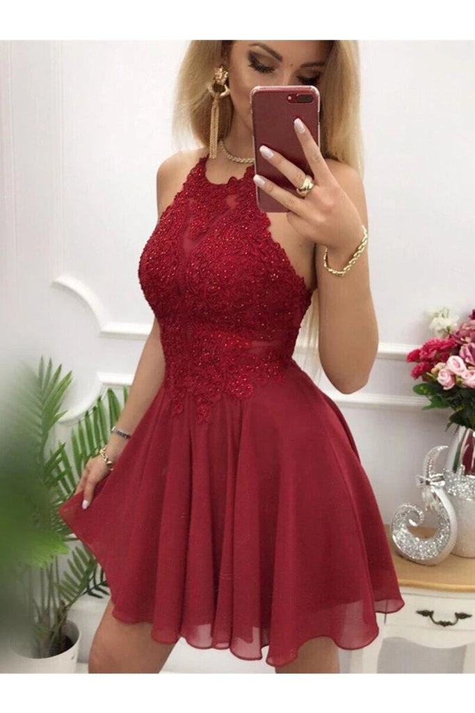 Backless Short Formal Homecoming Cocktail Dresses Scoop Chiffon