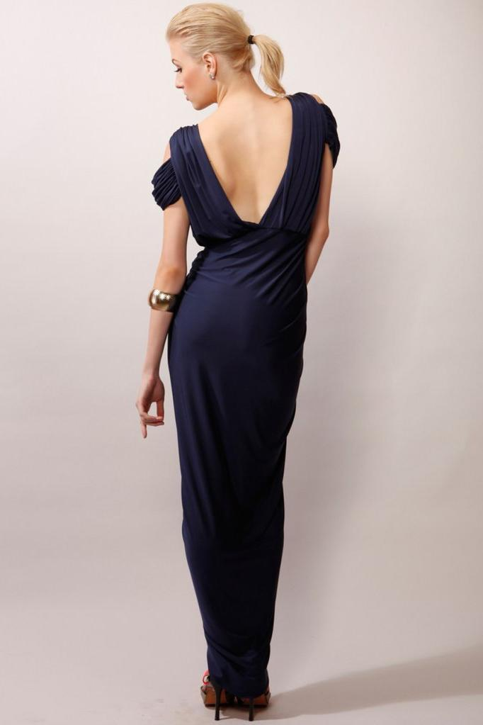 A-Line V-Neck Boho Navy Jersey Beach Cheap Popular Open Back Chiffon Bridesmaid Dresses JS516