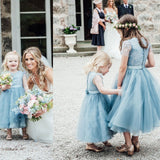 A-Line Mid-Calf Blue Lace Top Tulle Scoop Sleeveless Cheap Junior Flower Girl Dress JS528