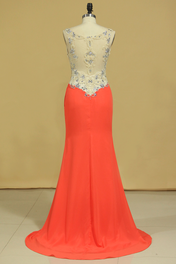 2019 V Neck Prom Dresses Sheath Spandex Sweep Train With Beading