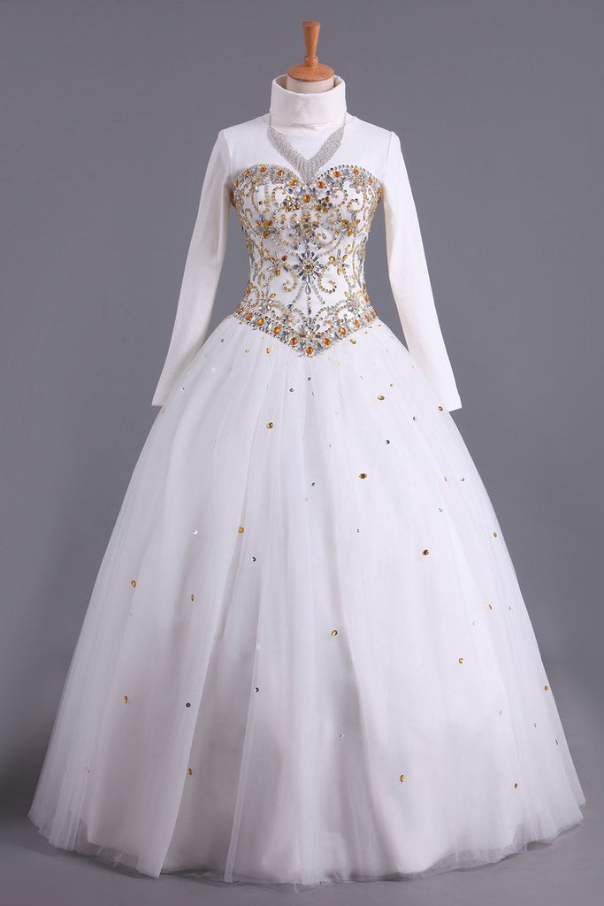 Musilim Quinceanera Dresses Sweetheart A Line With Beads Floor Length