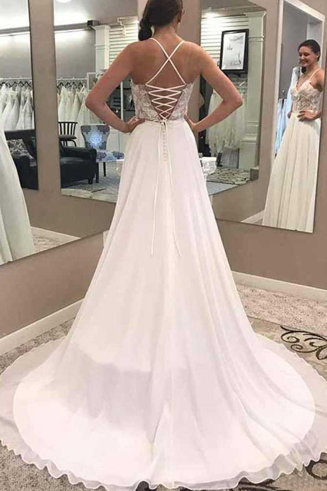A Line V Neck Open Back Chiffon Ivory Lace Long Lace up Wedding Dresses with Appliques JS968