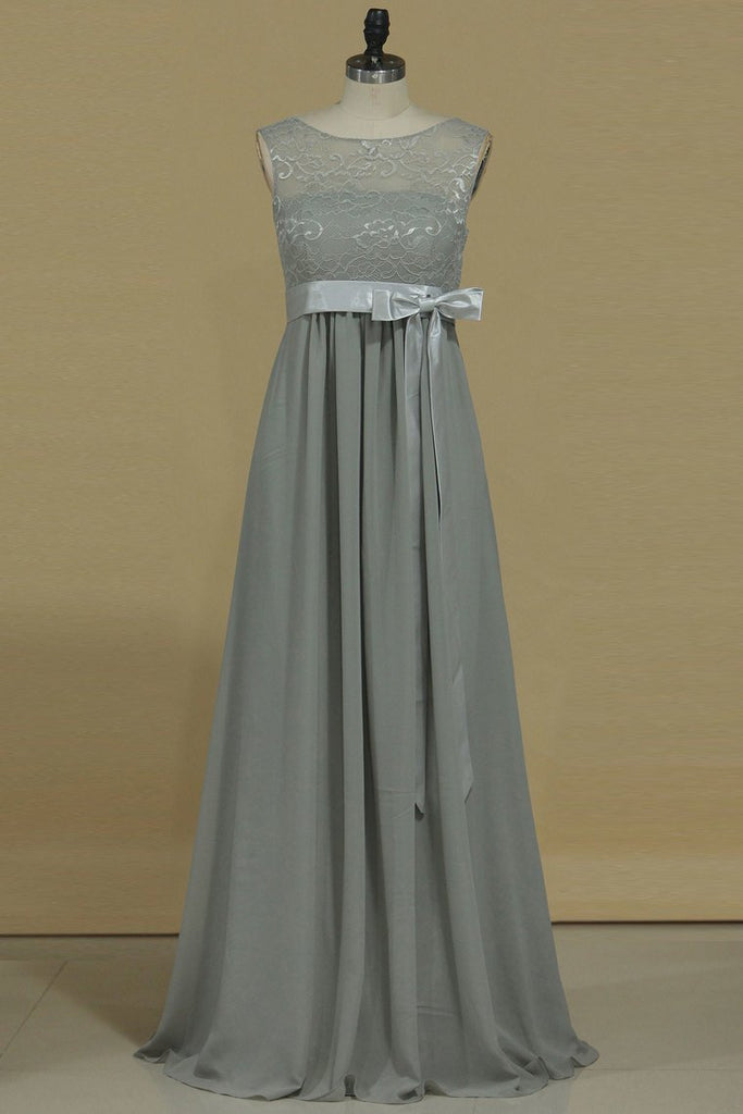 2021 A Line Prom Dresses Scoop Pregant Chiffon & Lace Floor Length
