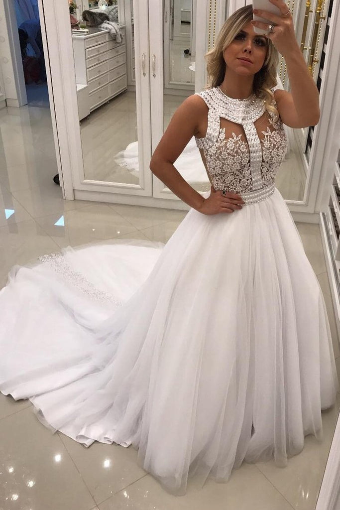 2021 A Line Scoop Wedding Dresses Tulle With Applique And Beads Court Train