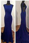 Elegant Prom Dress Blue Mermaid Backless Satin Party Gowns Sexy Formal Gown JS141