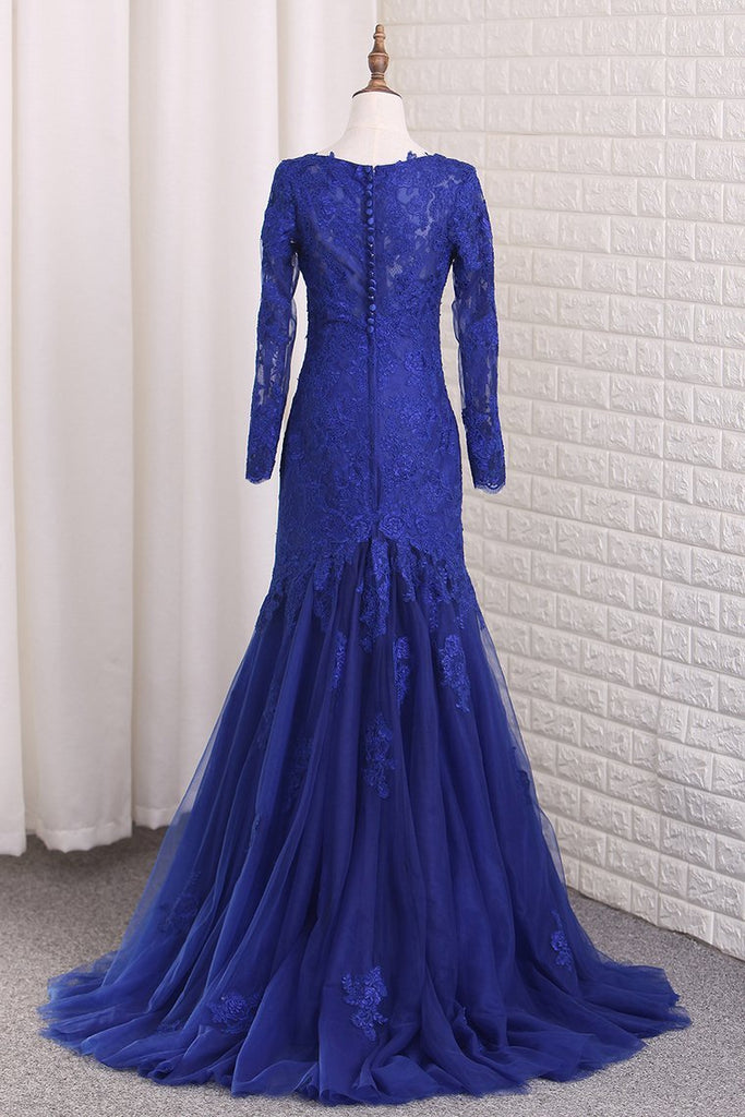 2019 V Neck Long Sleeves Tulle Prom Dresses With Applique Mermaid