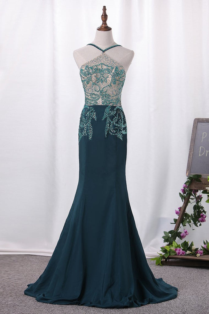 Sexy Spaghetti Straps A Line Prom Dresses With Beading