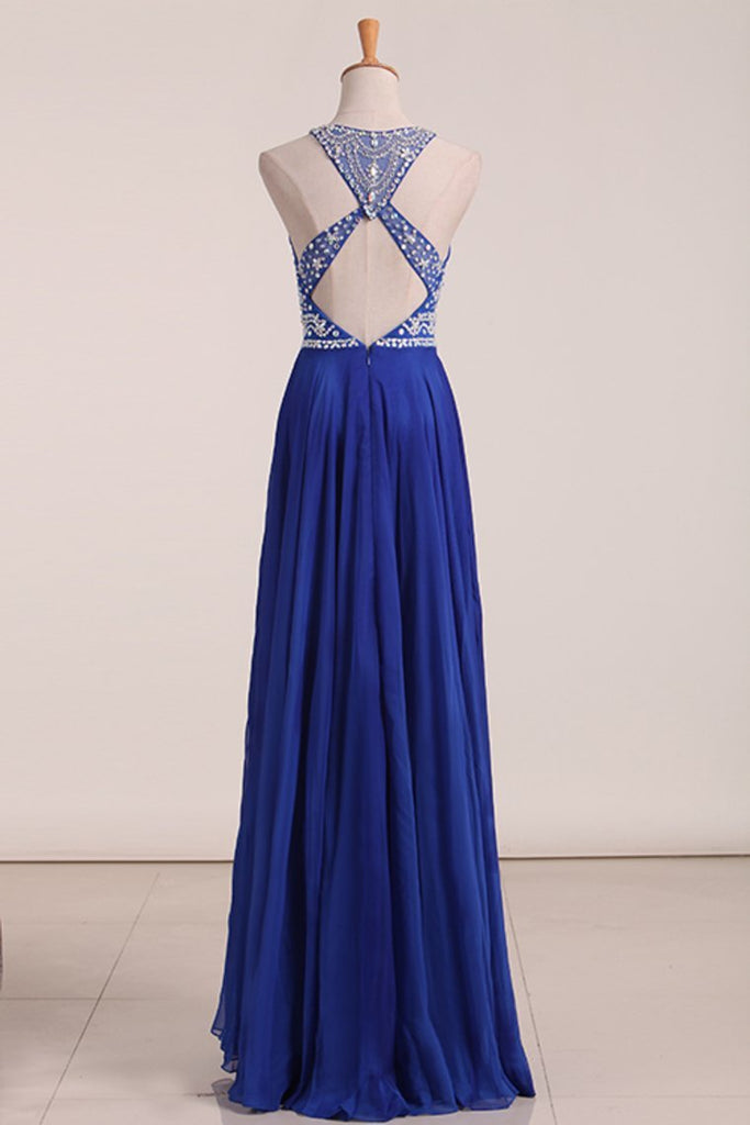 2019 Sexy Open Back Scoop Prom Dresses A Line Chiffon With Beading