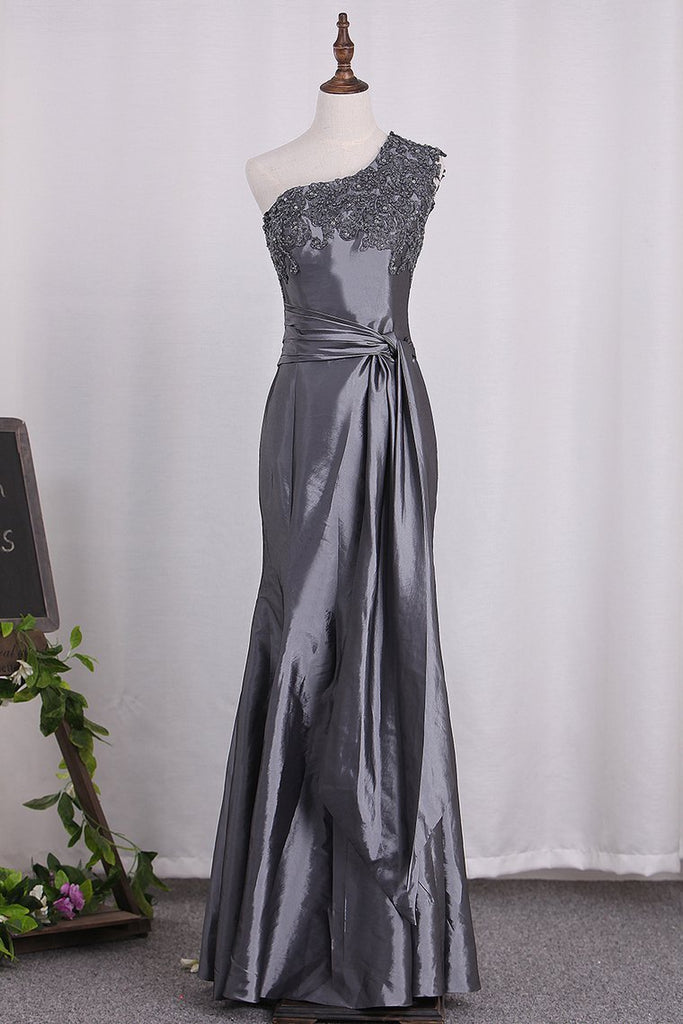 One Shoulder Mermaid Mother Of The Bride Dresses With Applique And Sash