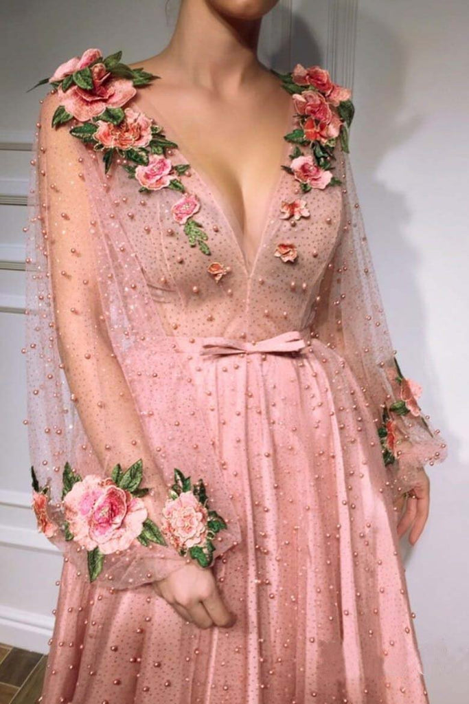 3D Floral Long Sleeve Pink Prom Dresses Pearl Beaded V Neck Formal Dresses JS377