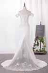 Elegant Mermaid Off the Shoulder Sweetheart Lace Appliques Satin Wedding Dresses JS816