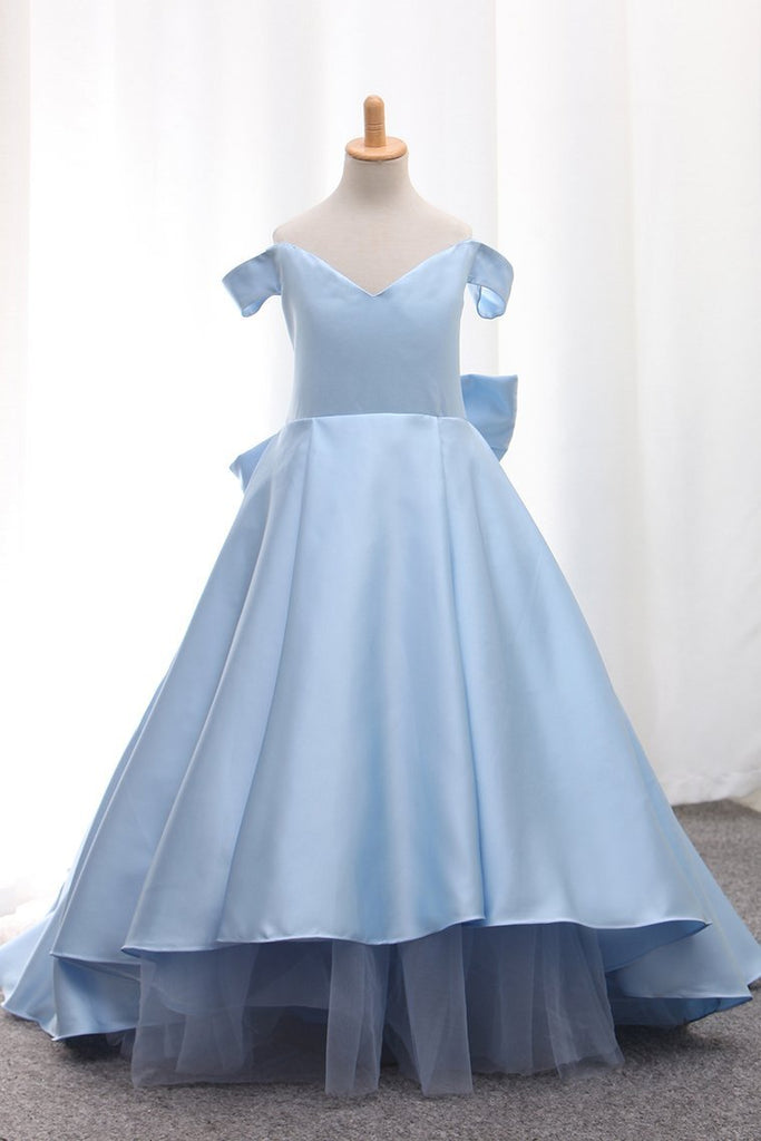 2019 Satin A Line Off The Shoulder Asymmetrical Flower Girl Dresses With Bow Knot