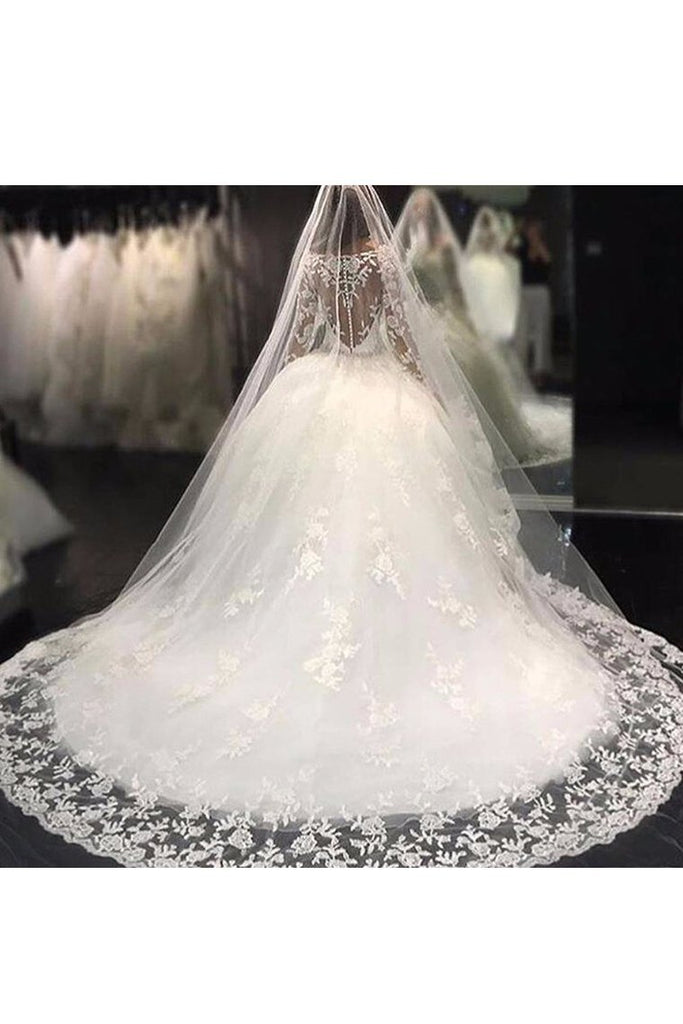 2021 Ball Gown Bateau Long Sleeves Tulle Wedding Dresses With Applique And Beads
