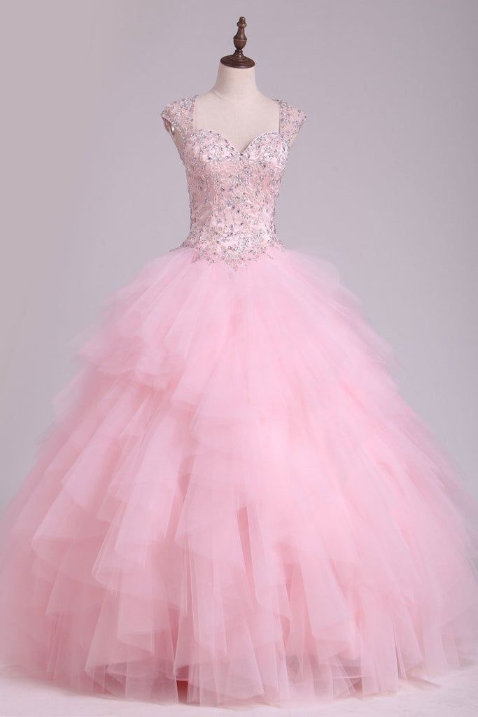 Sweetheart Beaded Bodice Ball Gown Quinceanera Dresses Floor Length Tulle