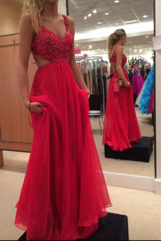 Beautiful Long Flowy Chiffon Lace Beading Red Prom Dresses For Teens