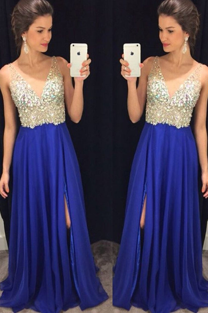 V Neck Prom Dresses A Line Chiffon With Beads And Slit