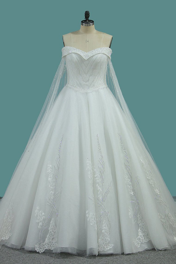 New Arrival Bling Wedding Dresses Off The Shoulder A Line Tulle Lace Up
