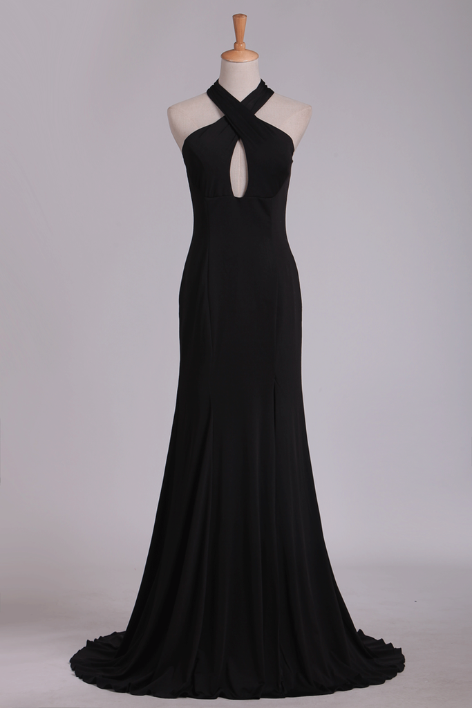 Prom Dresses Halter Open Back Sheath With Slit Spandex
