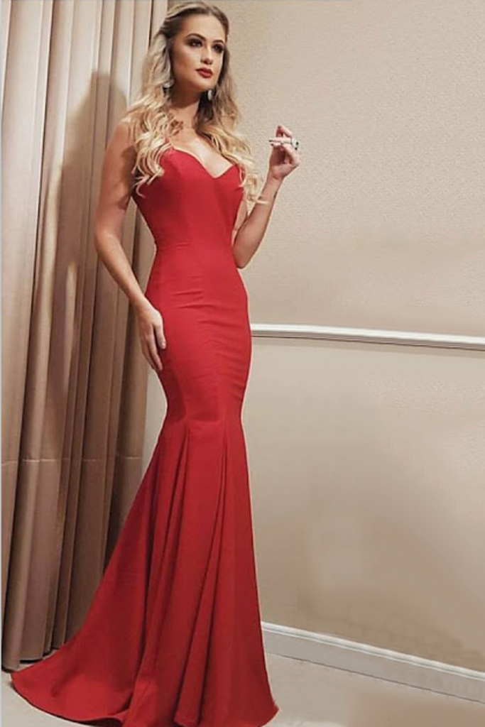 2019 New Arrival Straps Satin Mermaid Sweep Train Evening Dresses