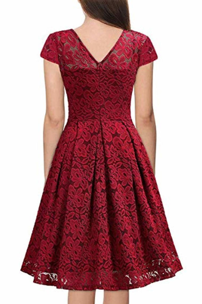 Lace Cocktail Dress Vintage Bridesmaid Short A-Line Evening Dresses