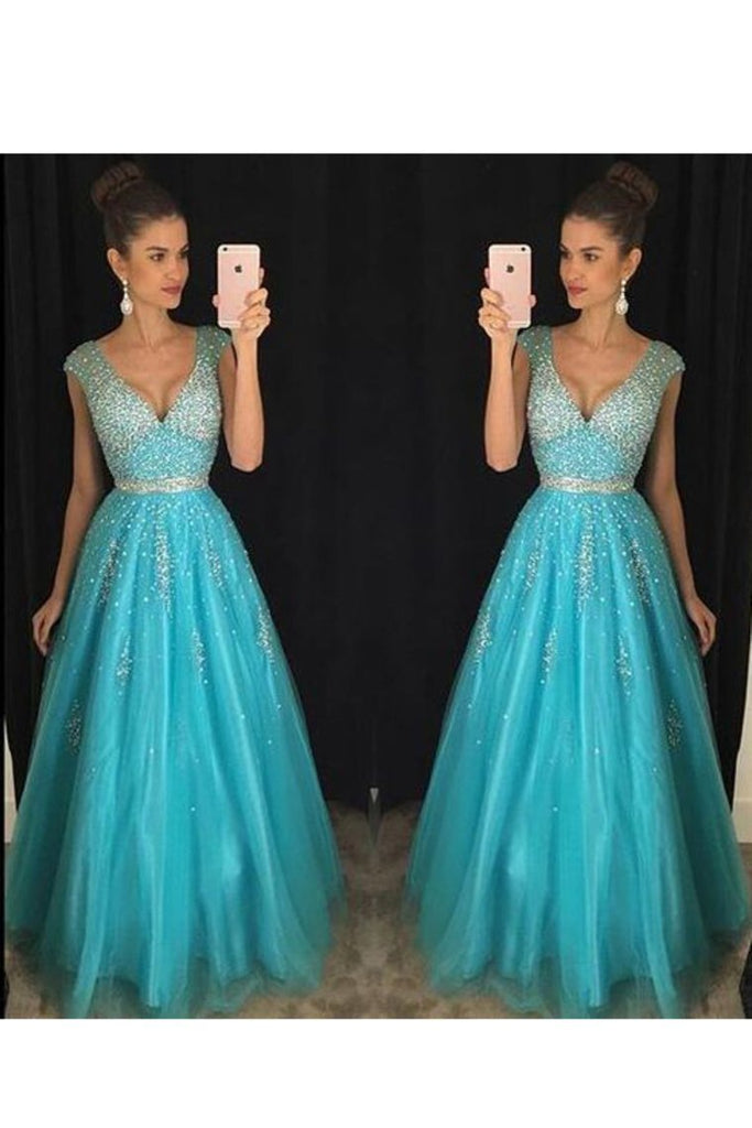 2021 A Line V Neck With Beading Prom Dresses Floor Length Tulle