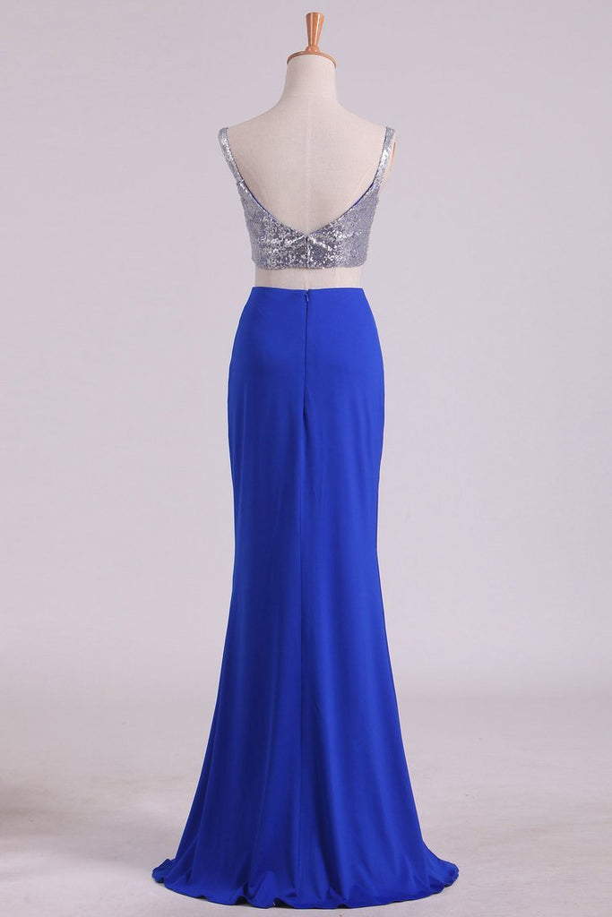 Spaghetti Straps Two Pieces Sheath Prom Dresses Spandex With Slit And Beads