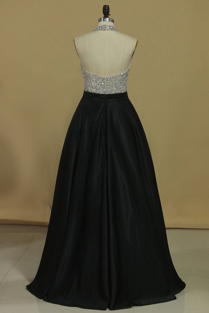 2019 Sexy Open Back A Line Halter Prom Dresses Satin With Beading