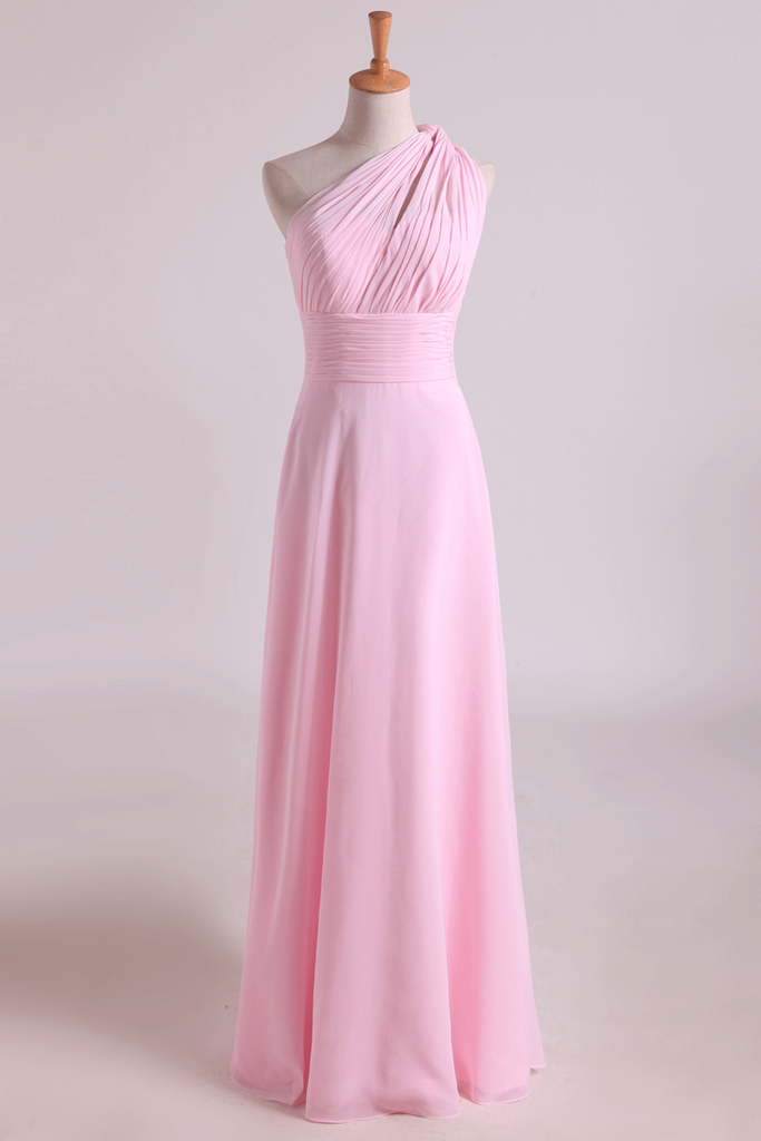 2019 One Shoulder A Line Chiffon Bridesmaid Dresses With Ruffles Pearl Pink
