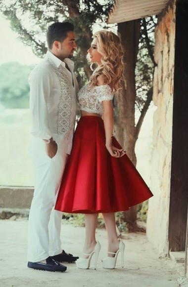 Two Piece Red Satin Lace Off-the-shoulder White Short Sleeve Tea-Length Party Dresses JS59