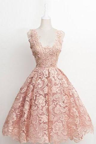 Vintage A-line Scalloped-Edge Knee-Length Lace Light Pink Prom Homecoming Dress JS874