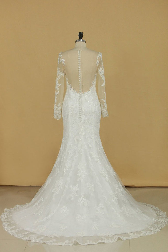 Mermaid Scoop With Applique Long Sleeves Wedding Dresses Tulle Court Train