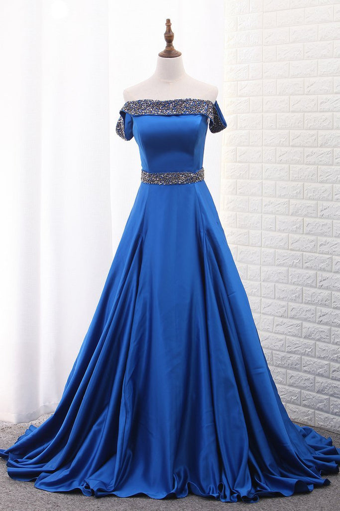 2021 A Line Prom Dresses Boat Neck Satin With Beads Sweep Train