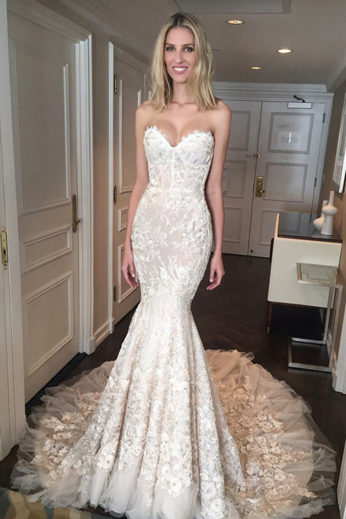 Beautiful Sweetheart Long Sheath Charming Lace Wedding Dresses Bridal Dresses