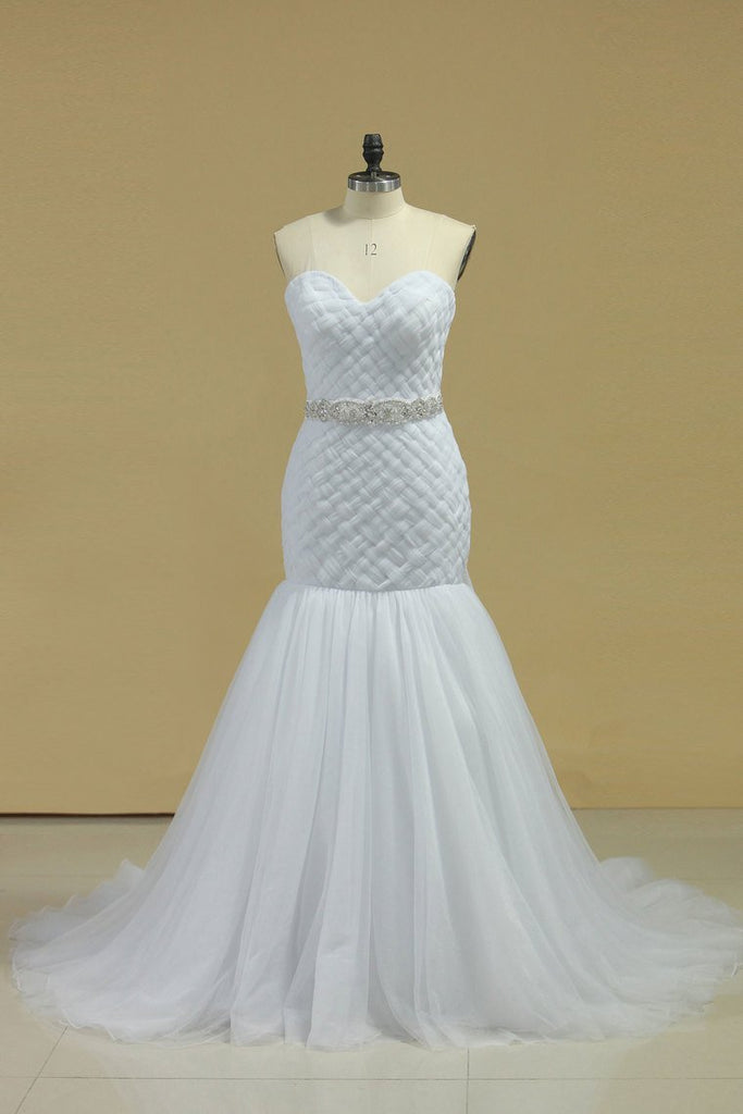 Sweetheart Ruffled Bodice Mermaid Wedding Dress Tulle With Beading