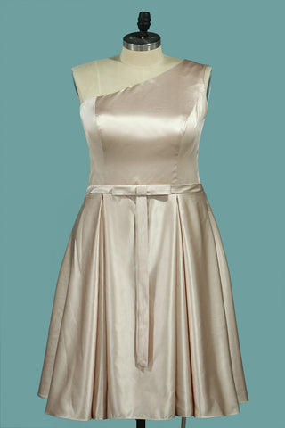 New Arrival Cocktail Dresses One Shoulder A Line With Sash Satin