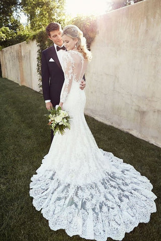 2020 Long Sleeves Bateau Memraid Tulle Wedding Dresses With SSMP4AXYX61